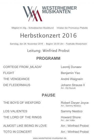 Programm Herbstkonzert 2016
