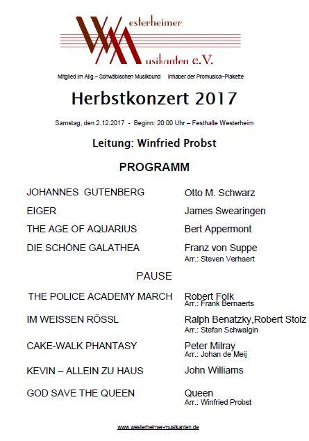 Programm Herbstkonzert 2017